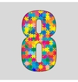 Color Puzzle Number - 8 Eight Gigsaw Piece vector image