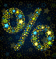 Percent sign cartoon star colored vector image