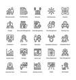 project management line icons set 18 vector image