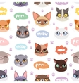 Seamless hipster cats pattern background vector image