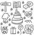 doodle of wedding object hand draw vector image