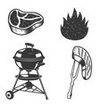 grill raw meat grilled meat fire design elements vector image