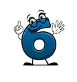 Waving happy number 6 vector image