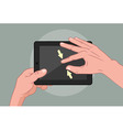 Hands using pad vector image vector image