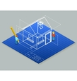 Architectural design blueprint drawing 3d vector image