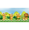 Lion family in the flower field vector image
