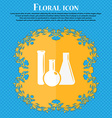 laboratory glass chemistry icon Floral flat design vector image