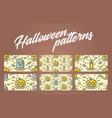 set of halloween seamless patterns with pumpkin vector image