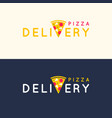 set of logos pizza delivery in bright flat vector image