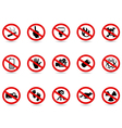 set of prohibited sign vector image vector image