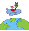 Santa Claus Holding Up A Stack Flying Around Earth vector image vector image