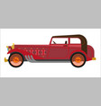 red colored vintage car vector image