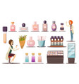 perfume shop icon set vector image