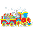 Easter Bunny on a train vector image vector image
