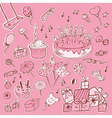 happy birthday set pink vector image vector image