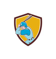 Baseball Player Batting Shield Cartoon vector image vector image