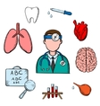 Doctor human organs and medical obects vector image