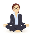 Young business woman in yoga lotus pose vector image