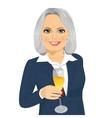 successful smiling senior businesswoman toasting vector image