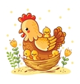 Cute cartoon hen with chickens sitting in a basket vector image