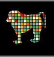baboon ape primate color silhouette animal vector image