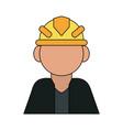 Color silhouette cartoon half body faceless worker vector image