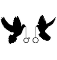 doves rings silhouette vector image