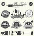 Retro Gardening Labels and Icons vector image