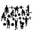 weightlifting activity sport silhouettes vector image