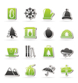 Winter Sport and relax icons vector image