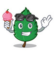 with ice cream mint leaves character cartoon vector image