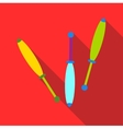 Juggling clubs icon flat style vector image
