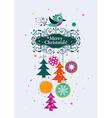 Template Christmas greeting card ribbon vector image vector image