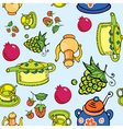 teapot and fruits vector image vector image