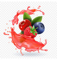 forest mixed berries juice splash realistic vector image