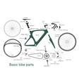 infographic of main bike parts with the names vector image
