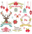 Merry ChristmasChristmas FlowersRustic Christmas vector image