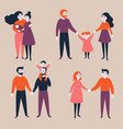set of gay lgbt and traditional couples with child vector image