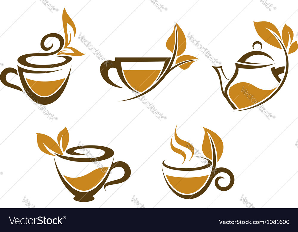 Cups of tea with brown leaves vector