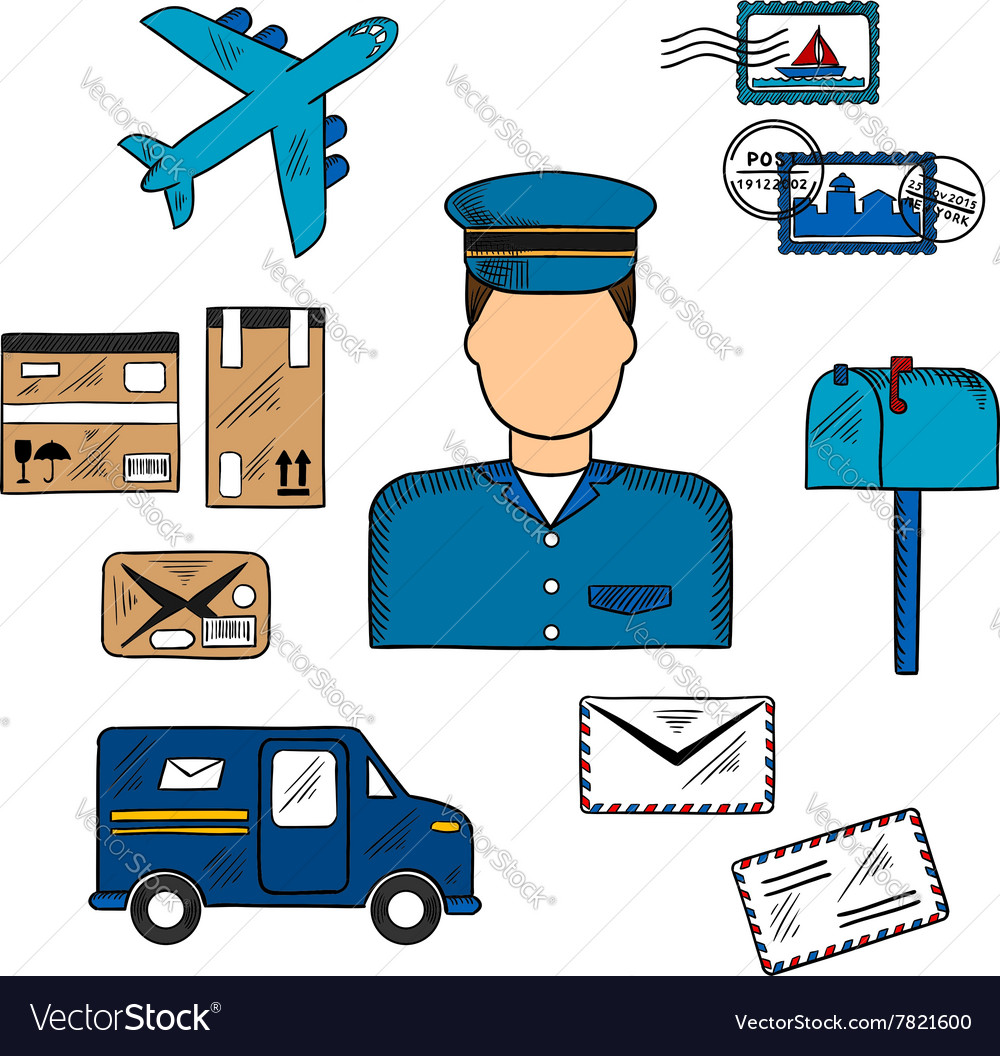 Postal icons around a postman vector