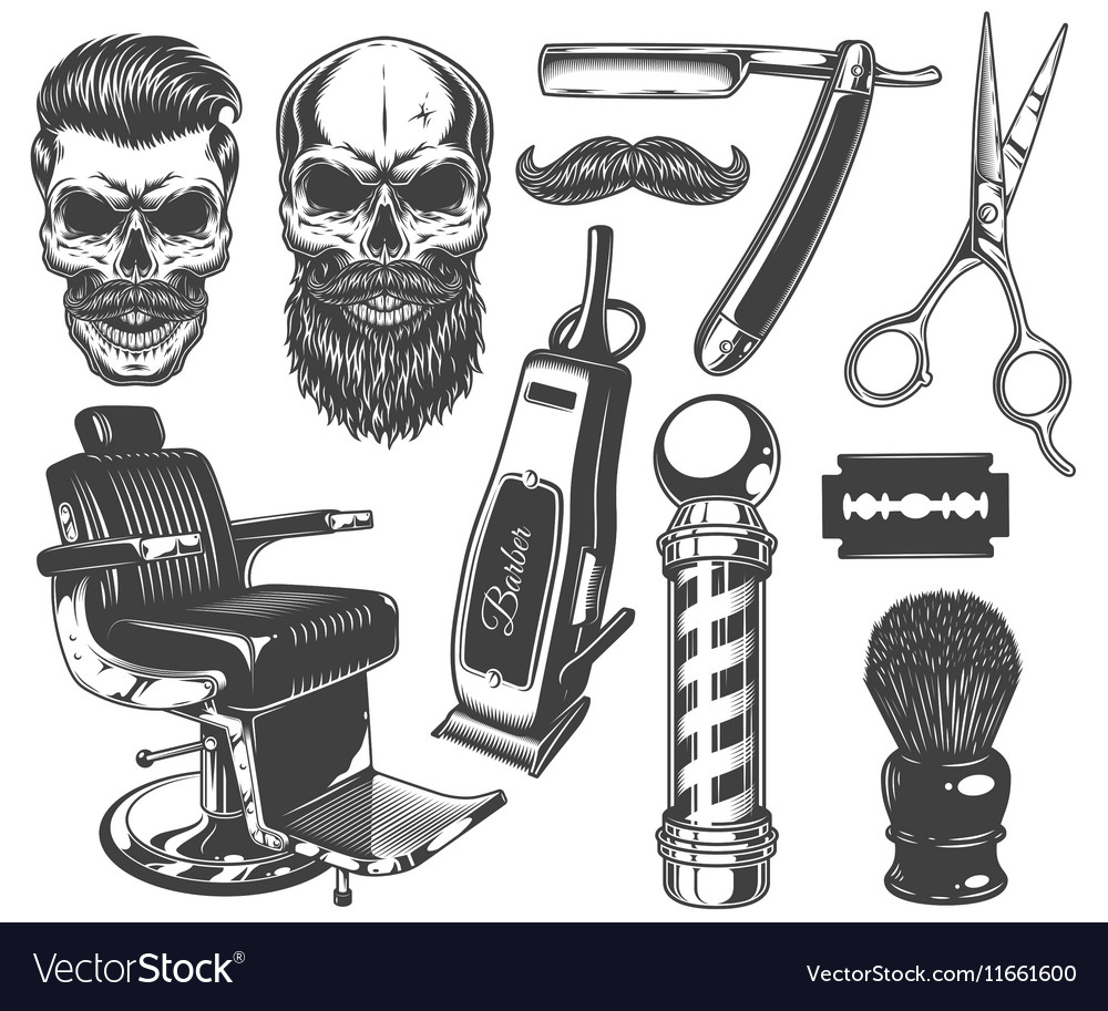 Set of vintage monochrome barber tools and vector