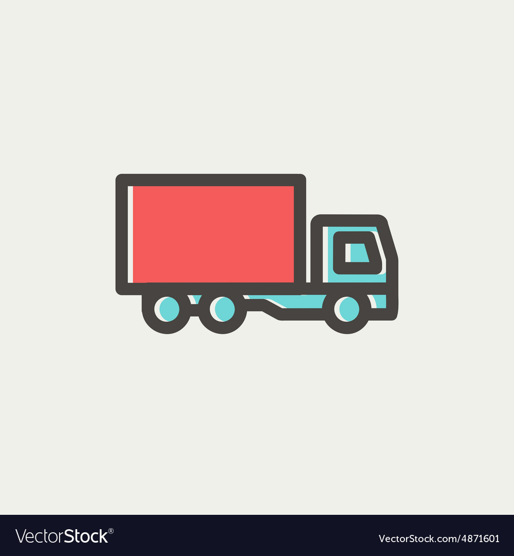 Delivery truck thin line icon vector