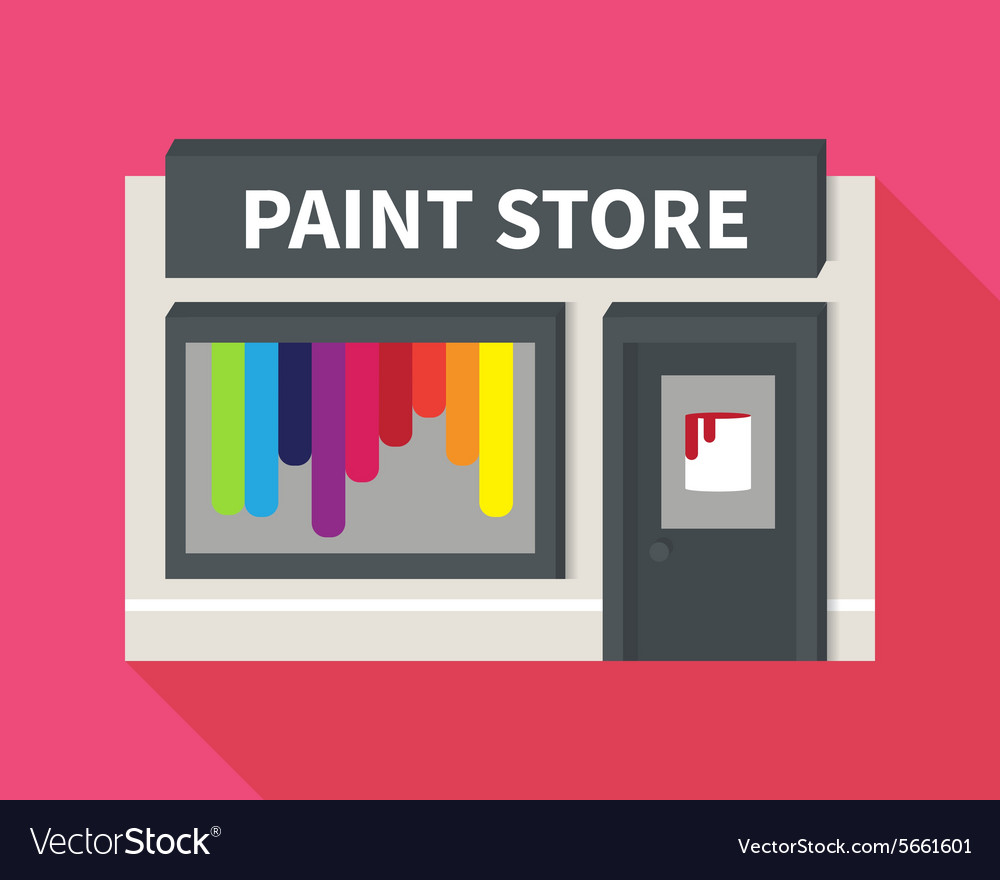 Flat hardware shop paint store vector