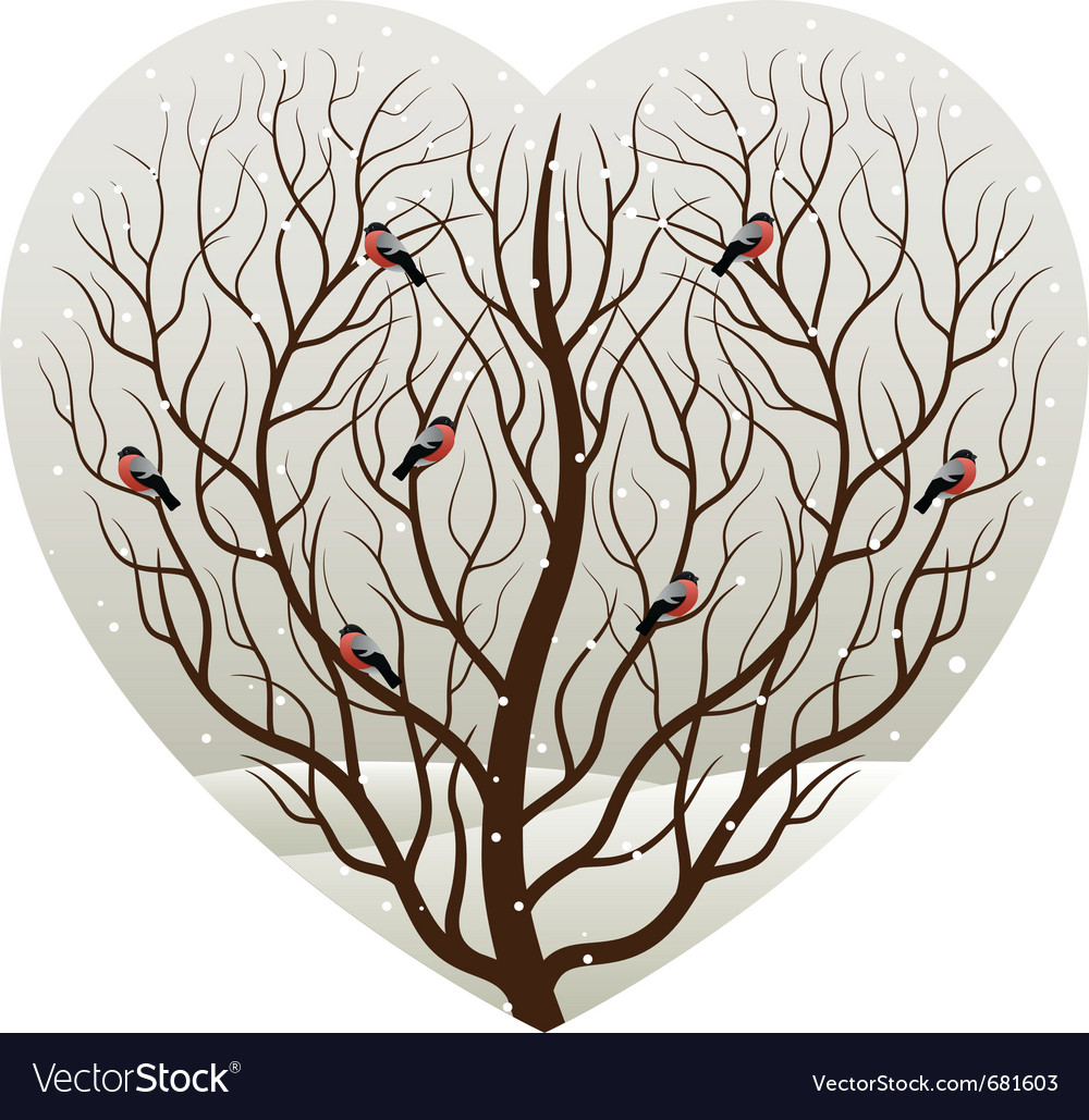 Winter in heart vector