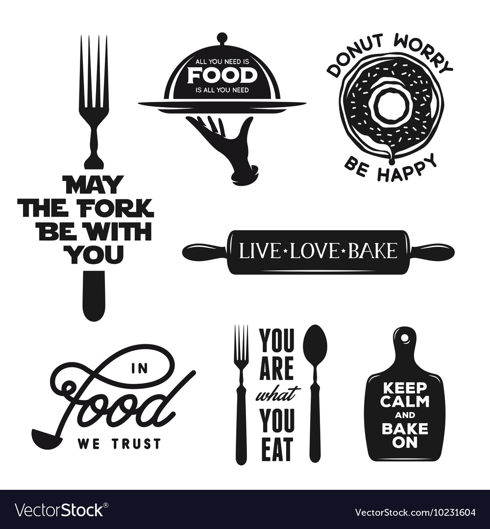Food related typography set quotes about cooking vector