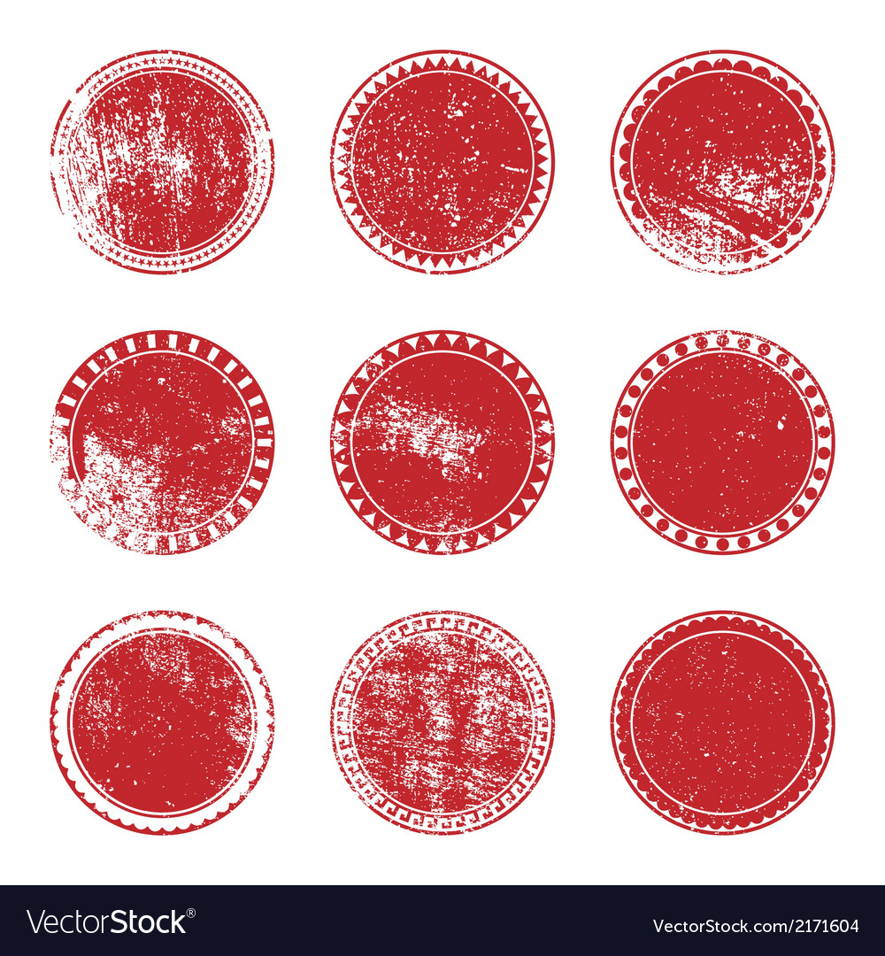 Red grunge stamp set vector