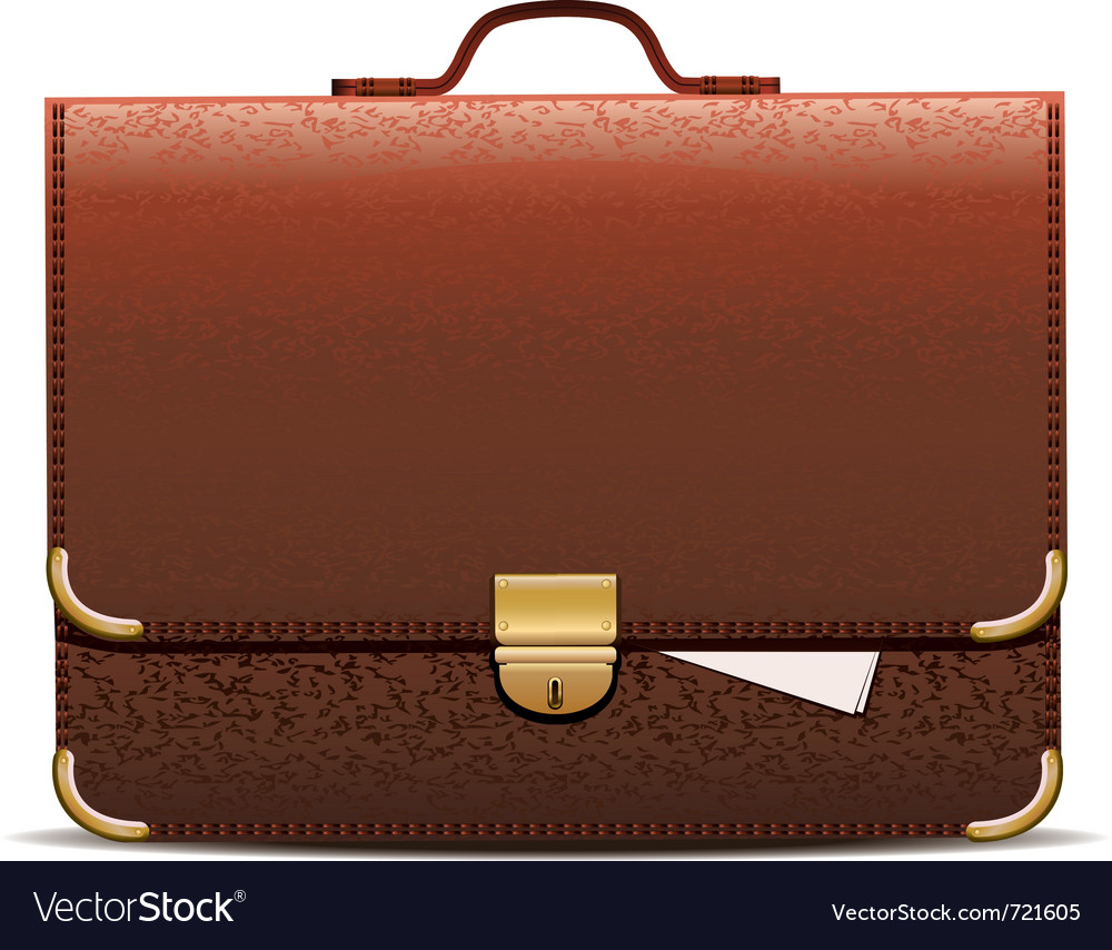 Brown leather briefcase vector