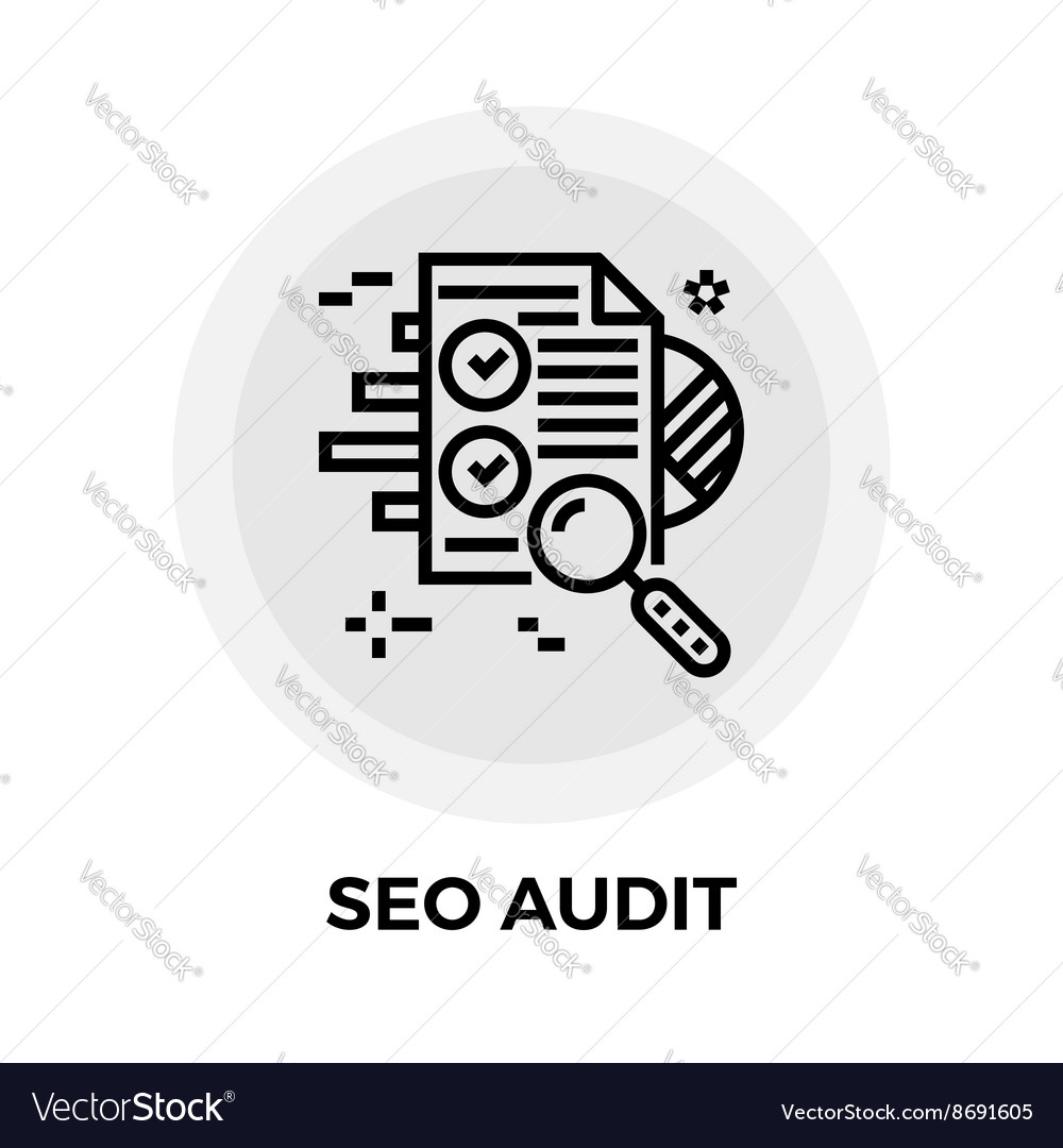 Seo audit line icon vector