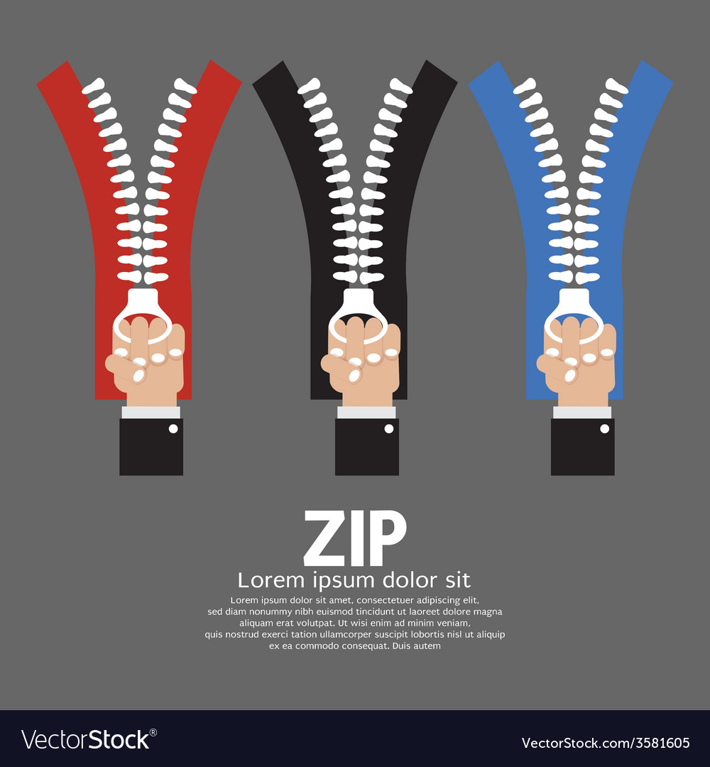 Zip with hand collection vector