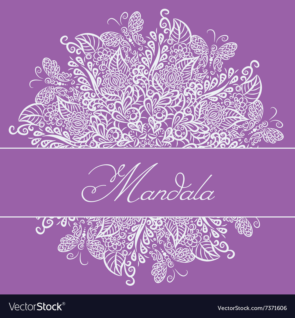 Mandala violet background white ornament vector